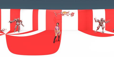 360 Grad Panorama mit attraktiver Frau und Robotern in einer futuristischen Umgebung