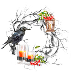 """Happy Halloween and thanksgiving day, autumn watercolor frames or cards for the holiday """"halloween"""" with a pumpkin, a wreath and a crow, illustrations of objects for posters and banners"""