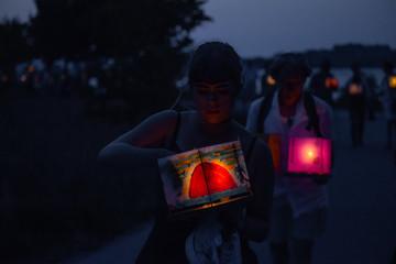 Girl at japanese asian light ceremony