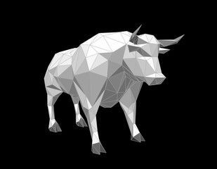 Abstract polygonal bull. Isolated on black background. Vector illustration.