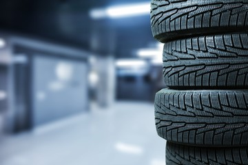 Tires objects on background