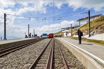 Rigi bahn electric cable tram  on Rigi kulm Luzern Switzerland, Alpine mountain