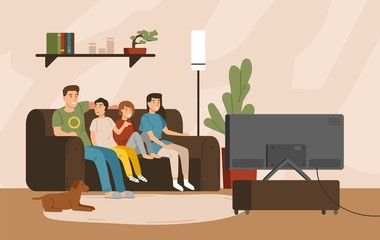 Smiling mother, father and children sitting on comfy sofa and watching television set. Happy family spending time together. Home entertainment. Colorful vector illustration in flat cartoon style.