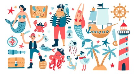 Collection of adorable pirates, sail ship, mermaids, sea fish and underwater creatures, treasure chest, lighthouse isolated on white background. Childish vector illustration in flat cartoon style.