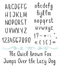Handwritten brushed vector thin font with symbols