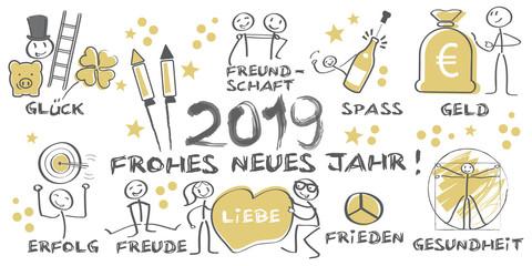 2019 Frohes neues Jahr illustrierte Grußkarte mit Symbolen - gold schwarz