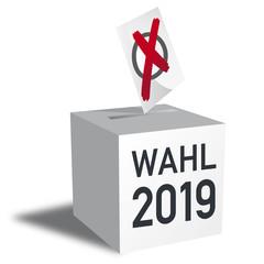 Wahl 2019, Wahlurne und Stimmzettel