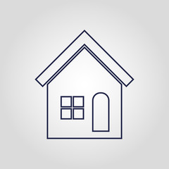 Linear home or house icon isolated flat vector sign