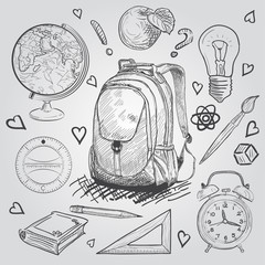 Education items. Hand Drawn Doodle school supplies Vector Set.