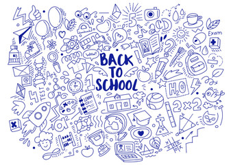 Blue Pen ink drawn back to school doodles isolated on white background. Vector linear illustration. For banners, posters, flyers. A lot of education icons, study symbols