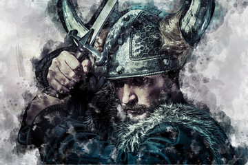 Viking warrior watercolor, male dressed in Barbarian style with sword, bearded
