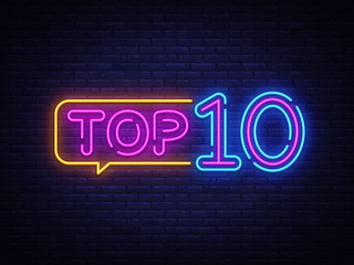 Top 10 Neon Text Vector. Top Ten neon sign, design template, modern trend design, night neon signboard, night bright advertising, light banner, light art. Vector illustration