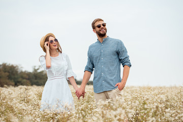 portrait of happy lovers in sunglasses holding hands in field with wild flowers