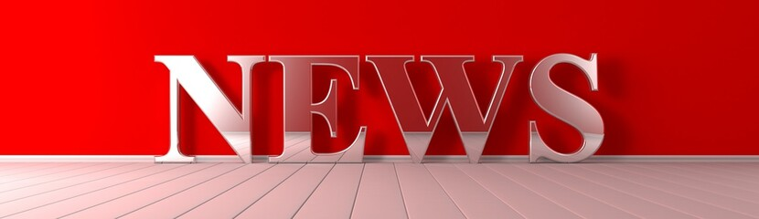 News metallic text on red wide banner