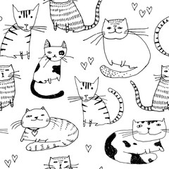 Seamless pattern. Wallpaper with fantasy cats cartoon animals on white background. Hand drawn vintage texture.