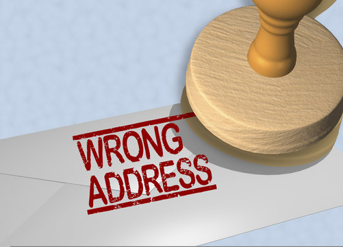 WRONG ADDRESS concept