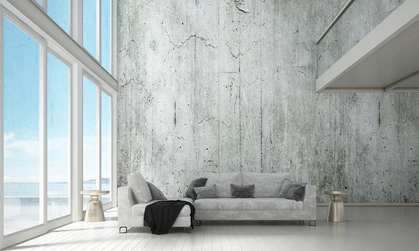 The modern interior design concept of lounge and living room and sea view background