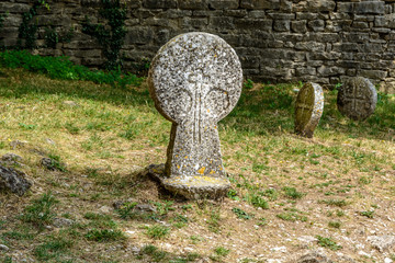 Templar graveyardn in La Couvertoirade a Medieval fortified town, France