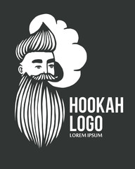 Hookah and-drawn hipster logo with mustache and beard. Man with cloud. Vector hookah logo. Stickers, logo, Emblem
