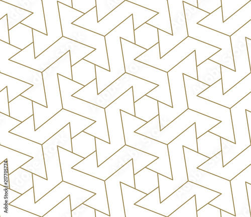 Modern Simple Geometric Vector Seamless Pattern With Gold Line