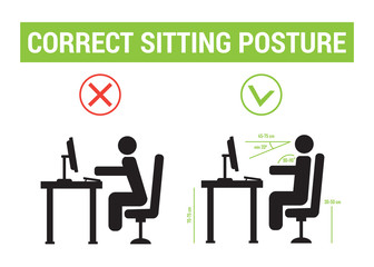 Correct sitting posture. correct position of persons. Correct sitting posture