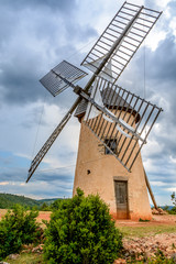 Windmill in La Couvertoirade a Medieval town in Aveyron, France