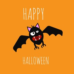 Funny Evil Bat Happy Halloween on Bright Background