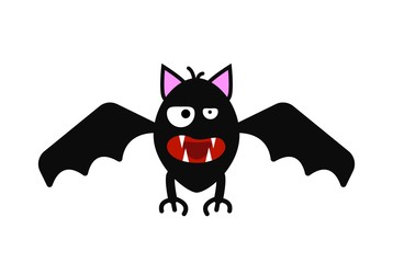 Funny Evil Bat Isolated on White Vector