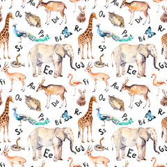 Alphabet letters, wild animals, birds. Childish seamless pattern. Zoo watercolor