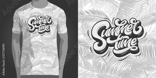 24be8c6f6abd Summertime typography with tropical seamless pattern. Template for t-shirt  design