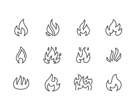 Fire flat line icons. Flame shapes silhouette, bonfire vector illustration, flammable warning sign.