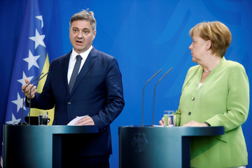 Bosnia-Herzegovina's PM Zvizdic speaks during a news conference with German Chancellor Merkel at the chancellery in Berlin