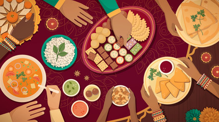 Traditional Diwali celebration at home with food