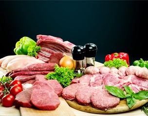 Fresh Raw Meat Background with vegetables