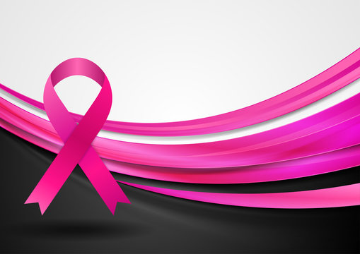 Breast cancer awareness month. Smooth silk waves and ribbon tape design