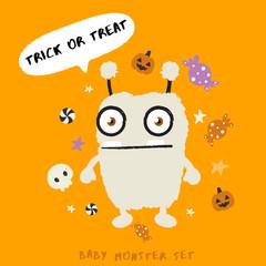 Baby Monster on Halloween Background : Vector Illustration