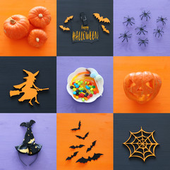 Halloween holiday collage top view. Pumpkins, spiders, witch, bats, treats.