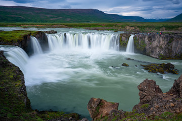 Printed bathroom splashbacks Amazing view of Gogafoss waterfall in summer, Iceland