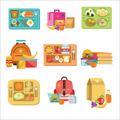 School lunch set, food boxes and kids bags vector illustration.