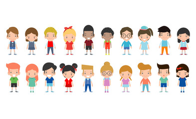 Happy kids cartoon collection. Multicultural children in different positions isolated on white background ,European children, America's Children, Asian kid,African kid, happy children,Vector