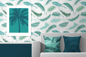 Interior of the room with poster, sofa and pillows with prints. Patterns of seamless patterns and prints for interior decoration. Vector illustration.