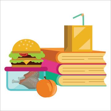 School lunch poster, Children dinner near pile of books vector illustration.