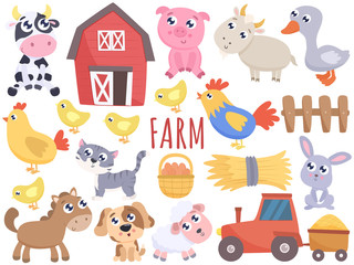 Cute farm cartoon animals and related items. Vector flat illustration.