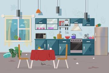 Dirty messy kitchen vector illustration.