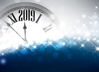 Blue shiny 2019 New Year background with clock.