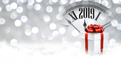 Grey shiny 2019 New Year background with gift. Greeting card.