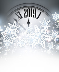 Grey 2019 New Year background with clock. Greeting card.