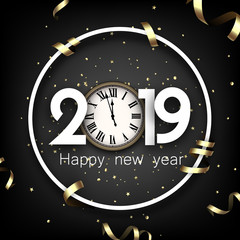 Grey 2019 happy New Year card with gold clock.