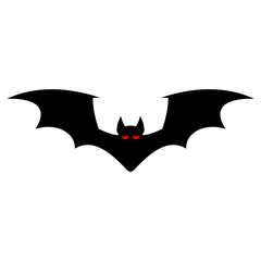 Bat silhouette with red eyes isolated on a white background. Vector flat icon for Halloween.