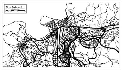 San Sebastian Spain City Map in Retro Style. Outline Map.